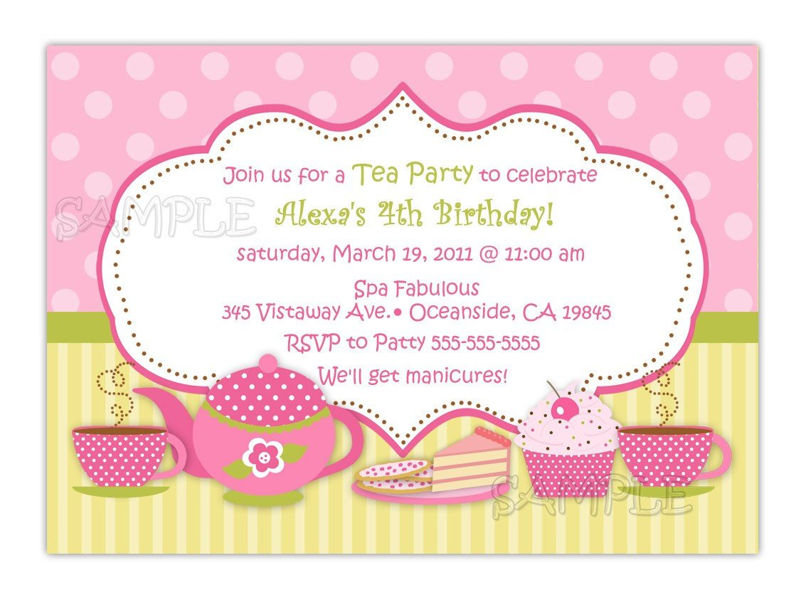 Tea Party Invitations Templates Tea Party Birthday Invitation You Print