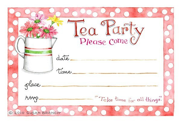 Tea Party Invitations Templates Tea Party Blank Invitations