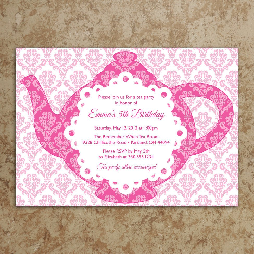 Tea Party Invitations Templates Tea Party Invitation Diy Printable Pdf Tea by Designswithstyle