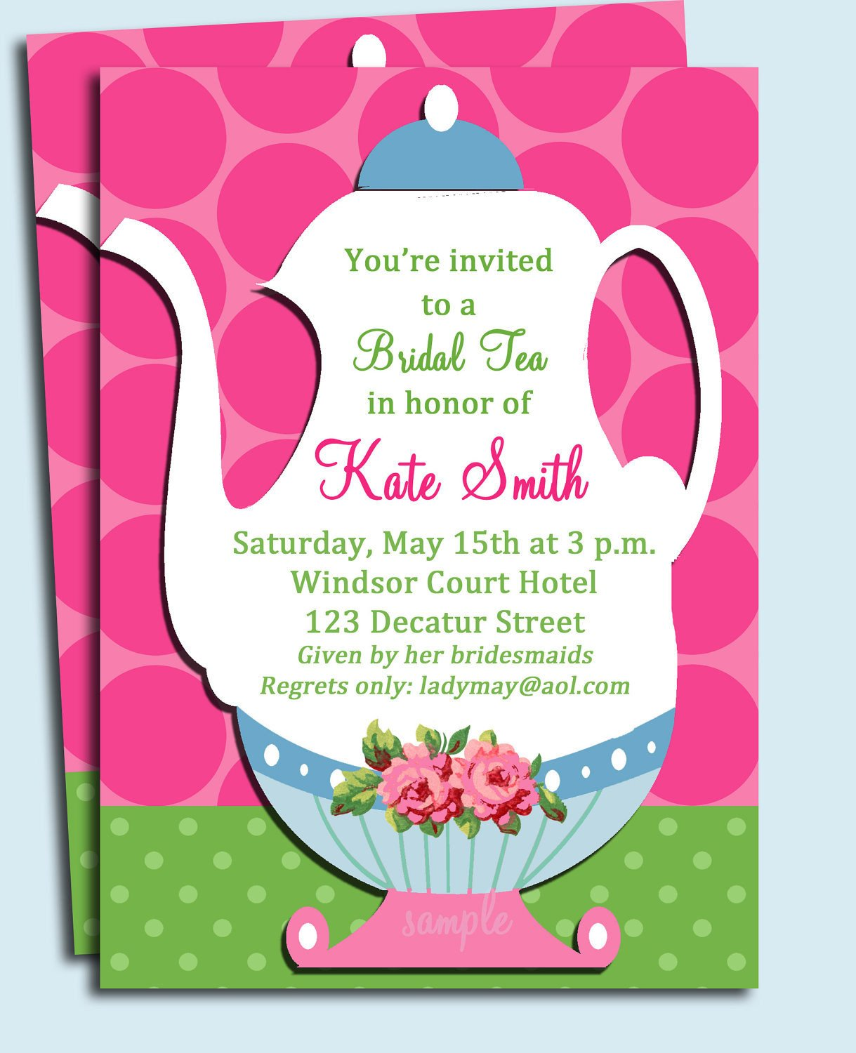 Tea Party Invitations Templates Tea Party Invitation Printable or Printed with Free Shipping