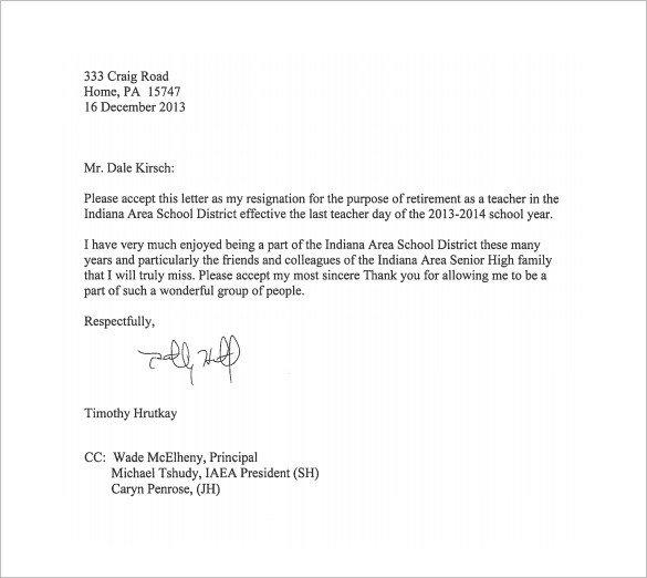 Teacher Letter Of Resignation 14 Teacher Resignation Letter Templates Pdf Doc