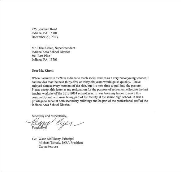 Teacher Letter Of Resignation 21 Example Of Resignation Letter Templates Free Sample