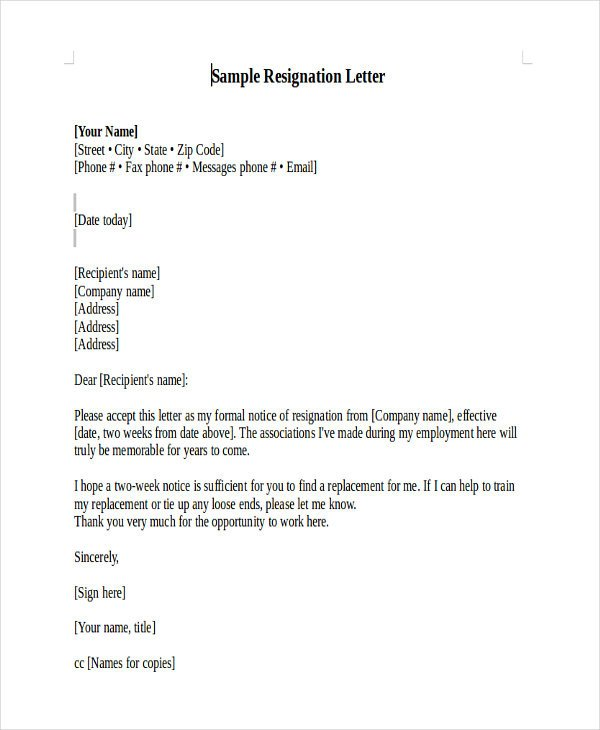 Teacher Letter Of Resignation Heartfelt Resignation Letter Template 7 Free Word Pdf