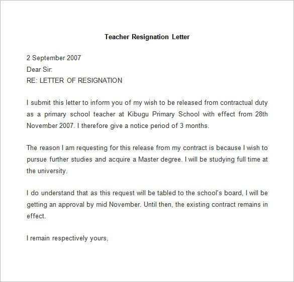 Teacher Letter Of Resignation Resignation Letter Template 25 Free Word Pdf Documents