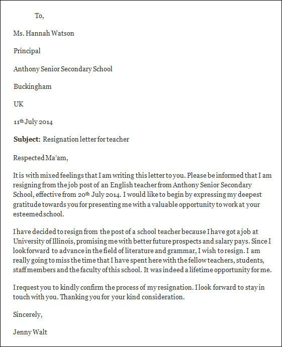 Teacher Letter Of Resignation Resignation Letter Template Free Resignation Letter Template
