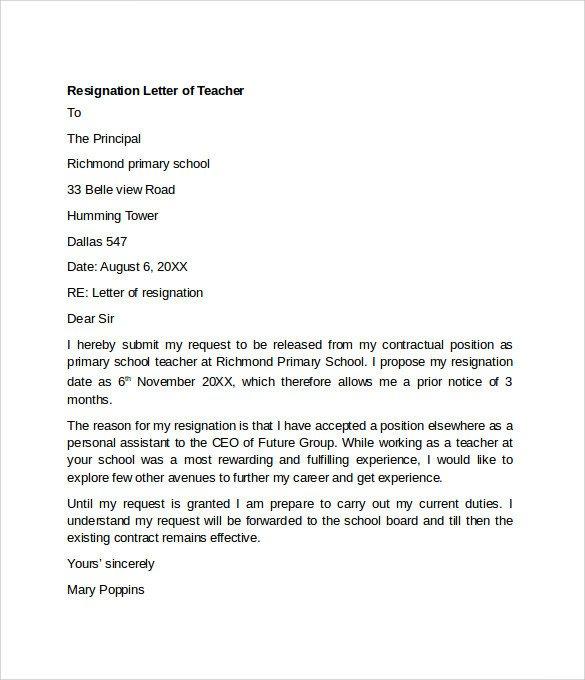 Teacher Letter Of Resignation Sample Resignation Letter Example 10 Free Documents