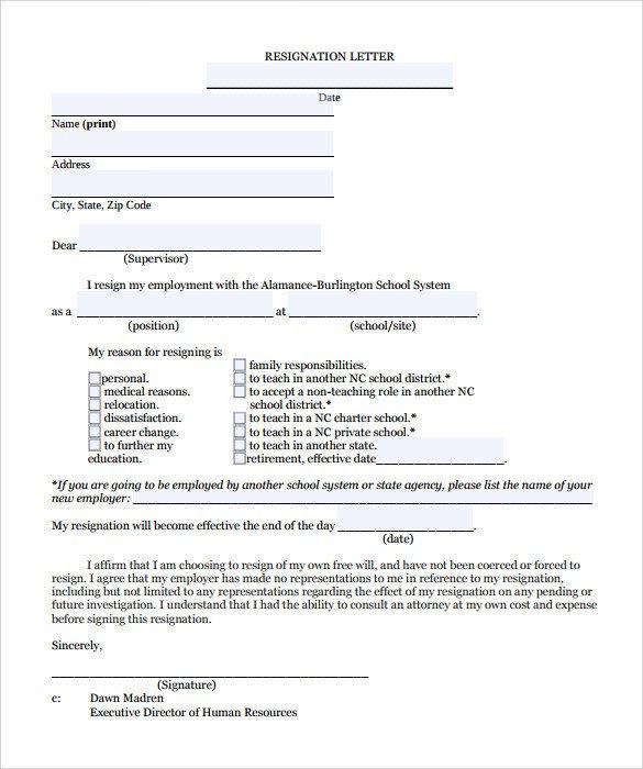 Teacher Letter Of Resignation Teacher Resignation Letter 10 Download Documents In Pdf