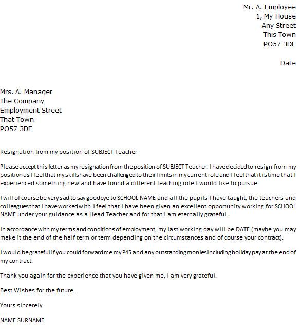 Teacher Letter Of Resignation Teacher Resignation Letter Example Icover