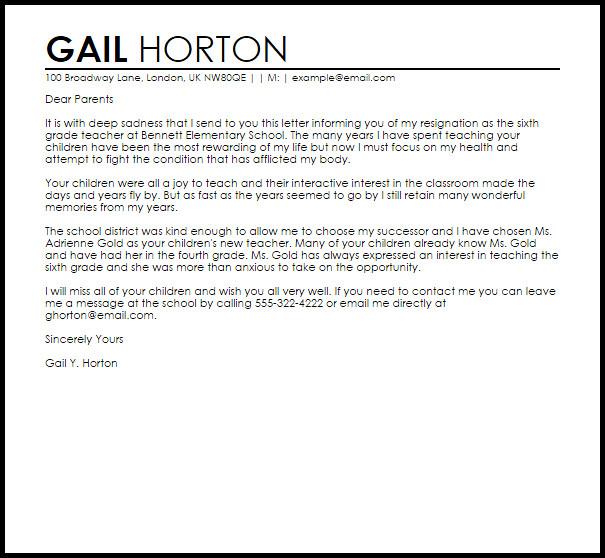 Teacher Letter Of Resignation Teacher Resignation Letter Example to Parents