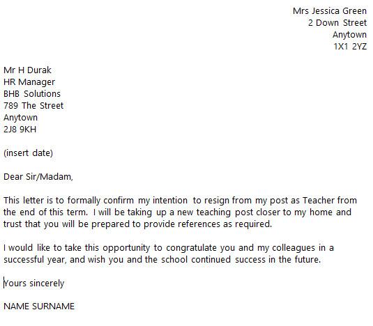 Teacher Letter Of Resignation Teacher Resignation Letter Example toresign