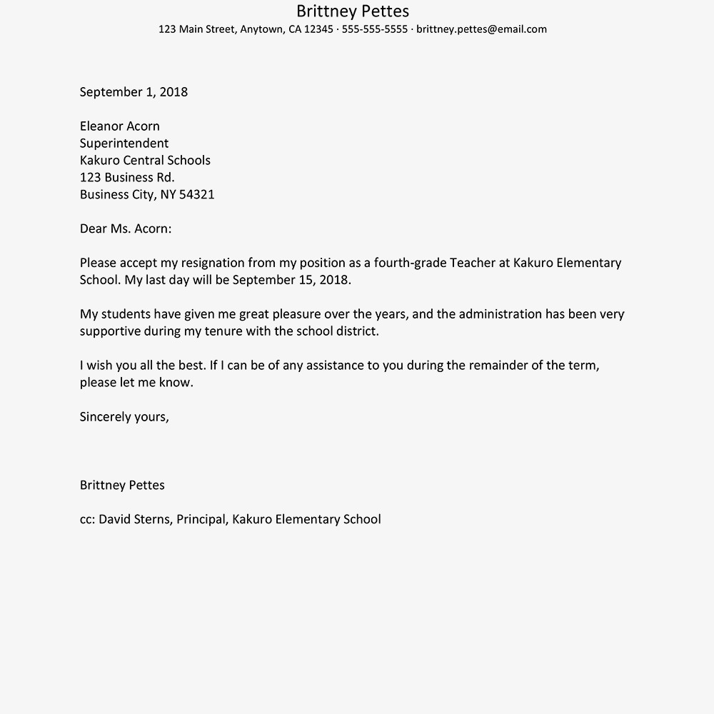 Teacher Letter Of Resignation Teacher Resignation Letter Examples