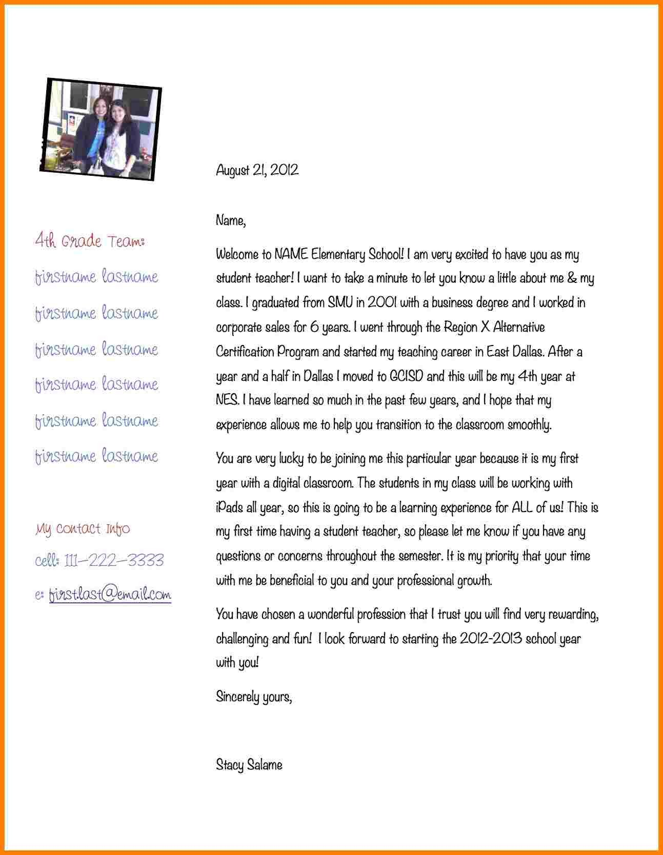 Teacher Welcome Letter Template 7 Introduction Letter to Mentor Teacher