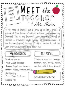 Teacher Welcome Letter Template Editable Meet the Teacher Letter Free by sophie