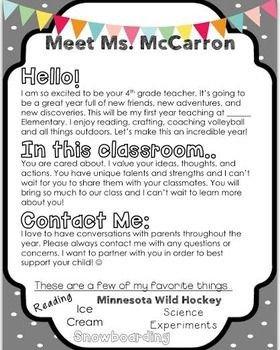 Teacher Welcome Letter Template Editable Meet the Teacher Letter Fun at School