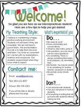 Teacher Welcome Letter Template Editable Student Teacher Intern Wel E Letter by Mrs