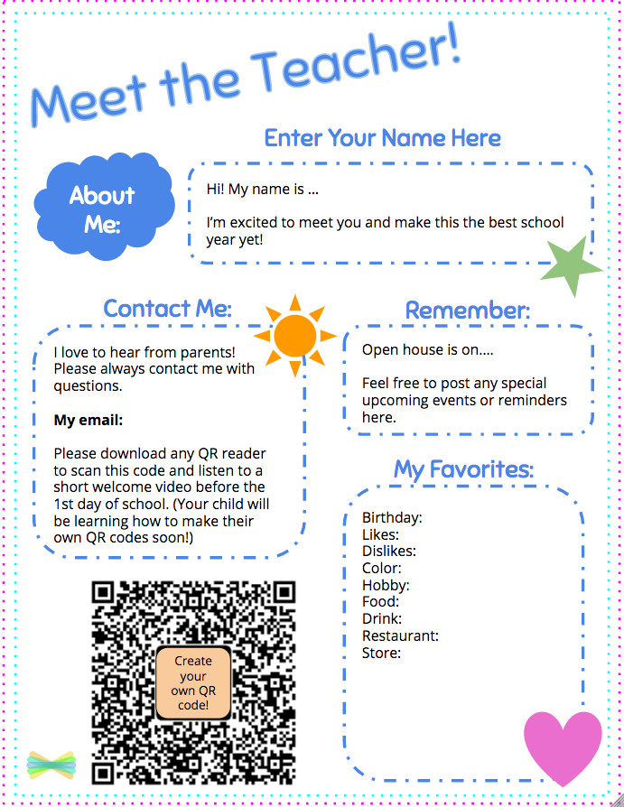 Teacher Welcome Letter Template Meet the Teacher Template with Seesaw Printable Wel E