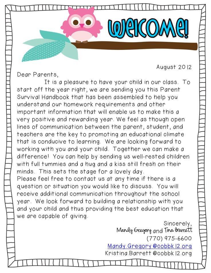 Teacher Welcome Letter Template Wel E Back Week Classroom Information
