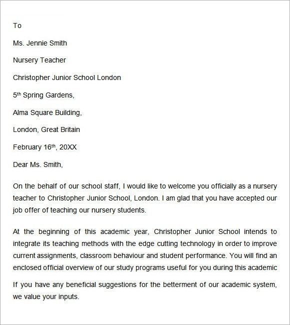 Teacher Welcome Letter Template Wel E Letter 6 Free Sample Examples format