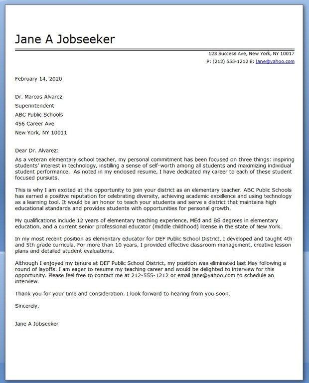 Teaching Cover Letter Template Elementary School Teacher Cover Letter Samples