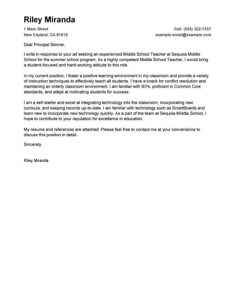 Teaching Cover Letter Template Leading Professional Summer Teacher Cover Letter Examples
