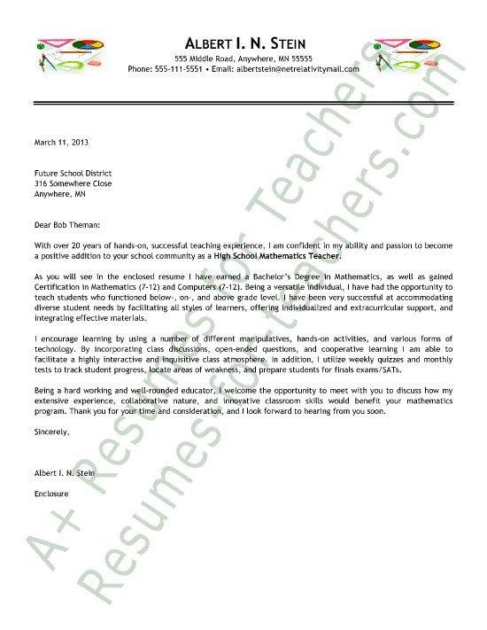Teaching Cover Letter Template Math Teacher Cover Letter 550×711 Pixels
