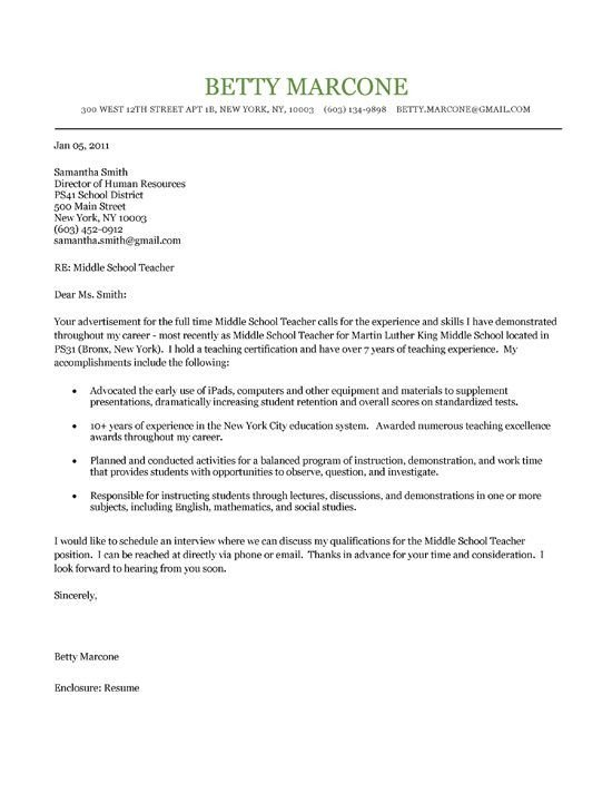Teaching Cover Letter Template Middle School Teacher Cover Letter
