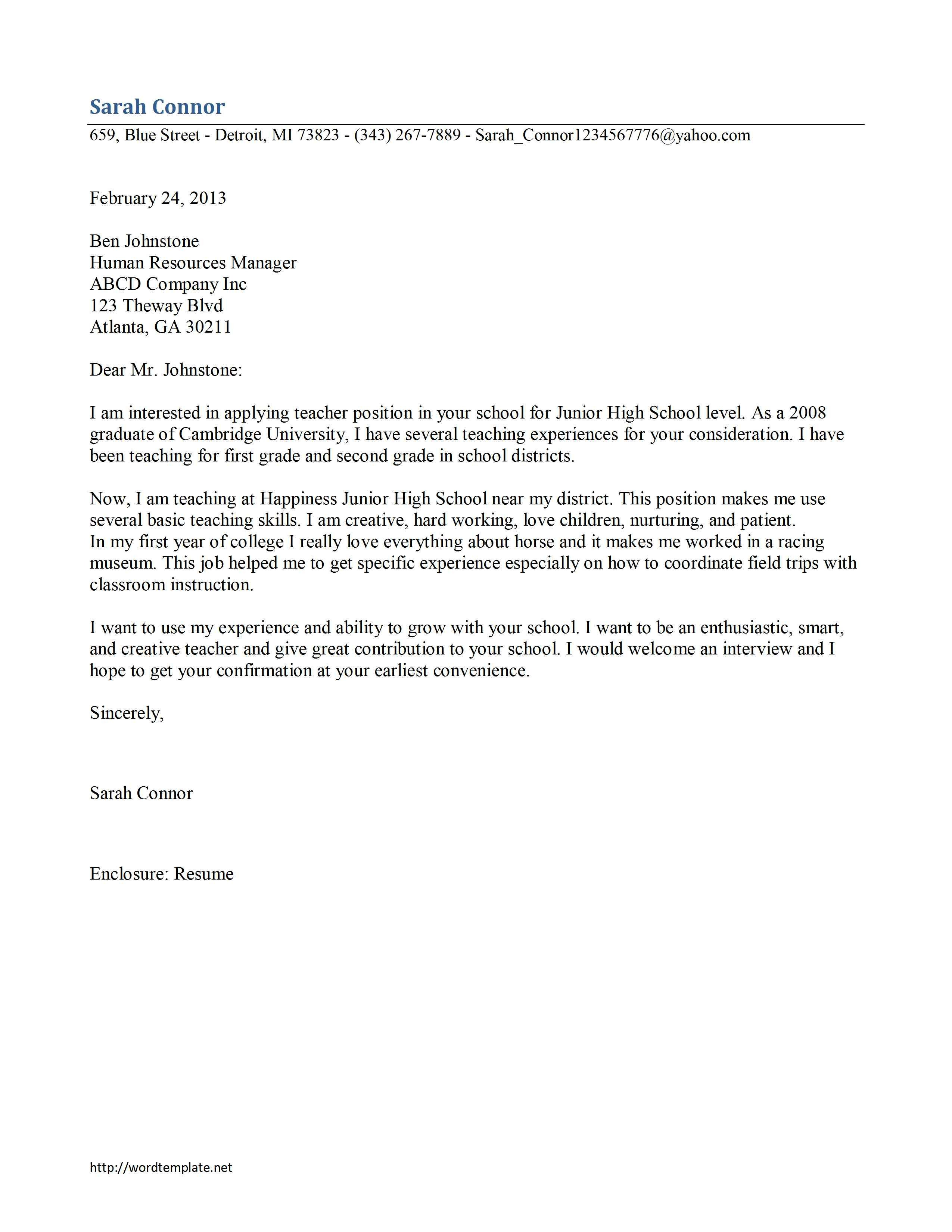 Teaching Cover Letter Template Printable Cover Letter