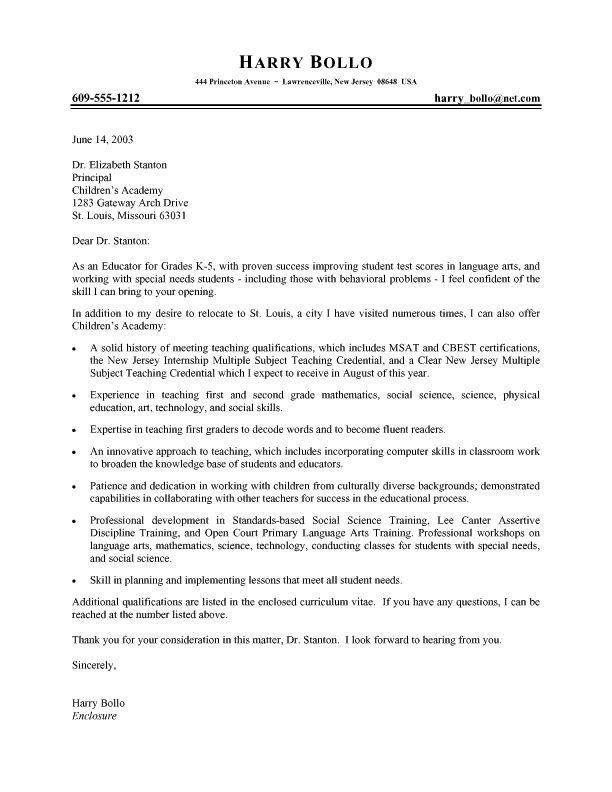 Teaching Cover Letter Template Professional Teacher Cover Letter Job Hunt