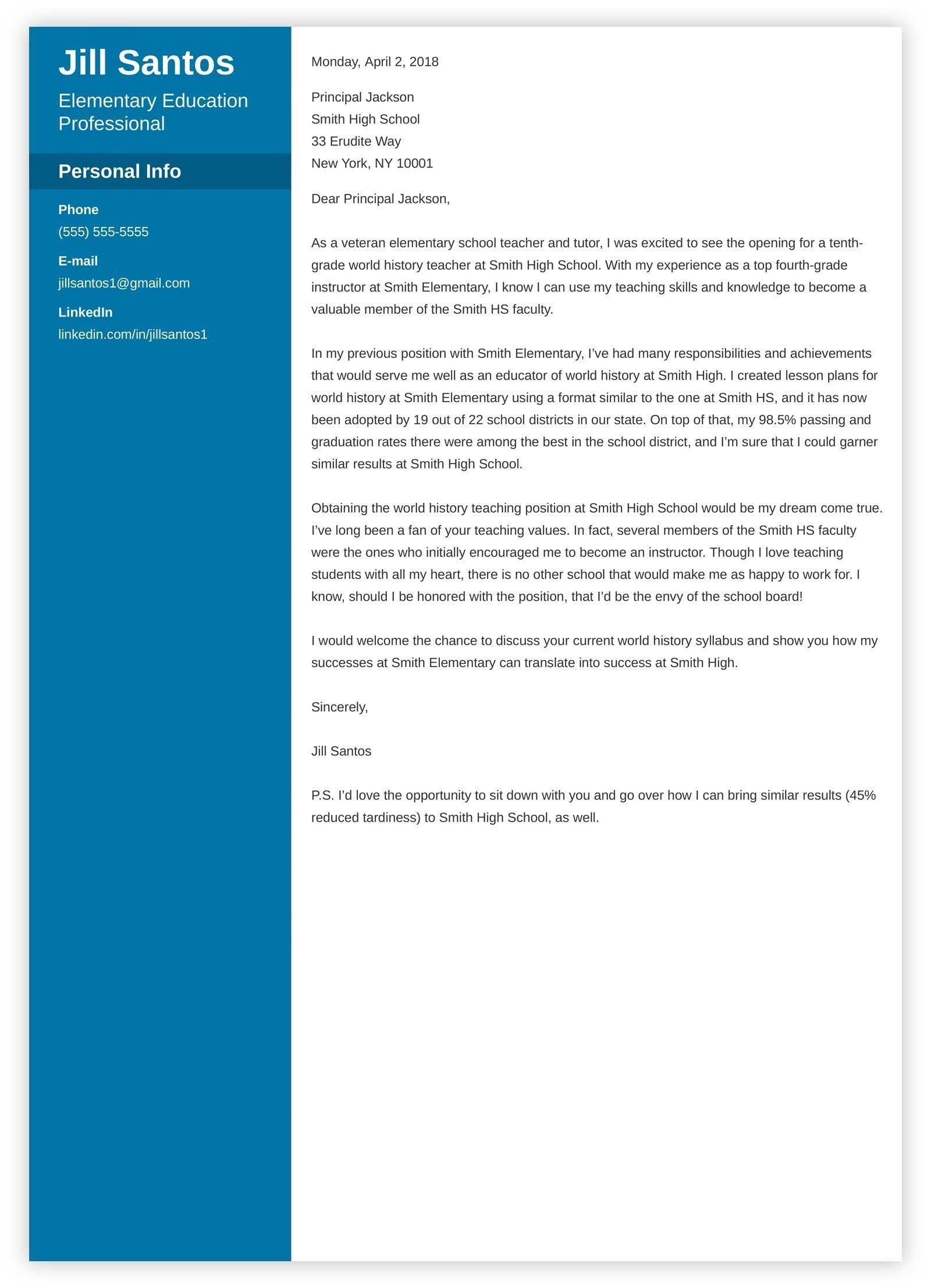 Teaching Cover Letter Template Teacher Cover Letter Sample & Plete Writing Guide [20