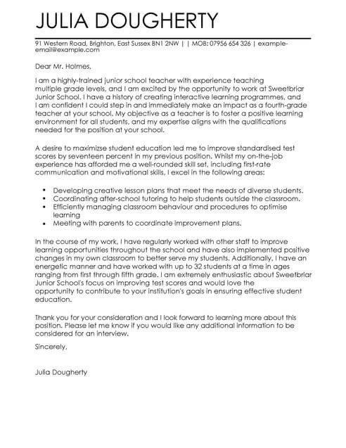Teaching Cover Letter Template Teacher Education Cover Letter Template