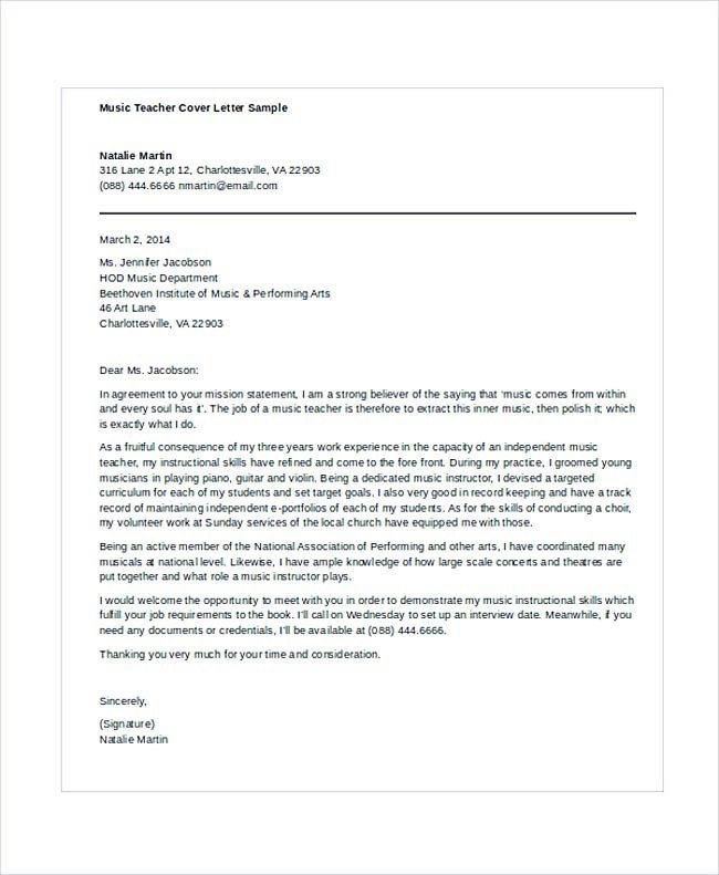 Teaching Cover Letter Template Teaching Cover Letter Examples for Successful Job Application