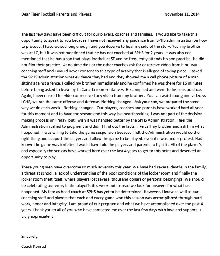 Team Mom Letter to Parents Breaking News south Pasadena Football Team forced to