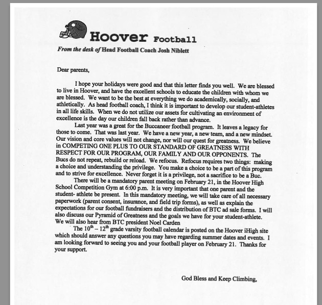 Team Mom Letter to Parents Hoover Team Home Hoover Bucs Sports