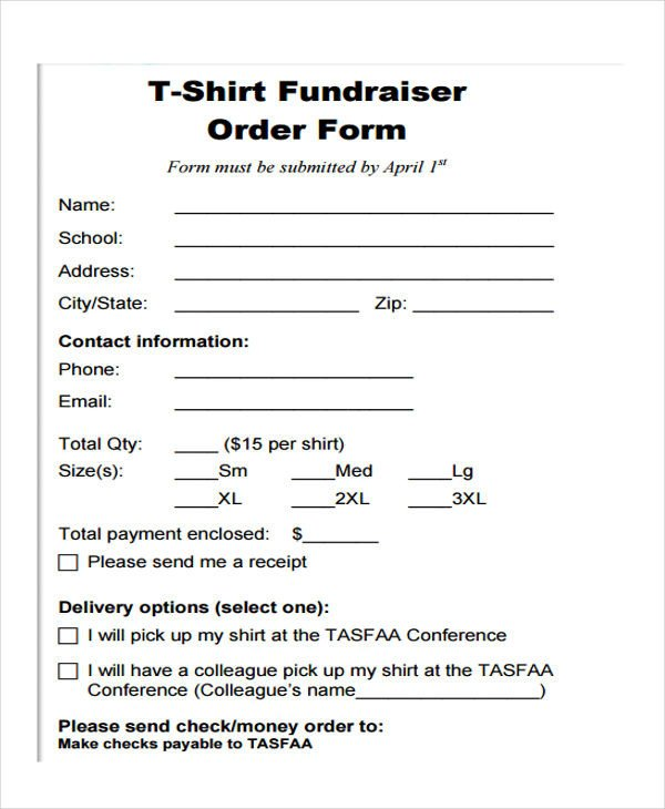 Tee Shirt order form 8 Fundraiser order forms Free Sample Example format