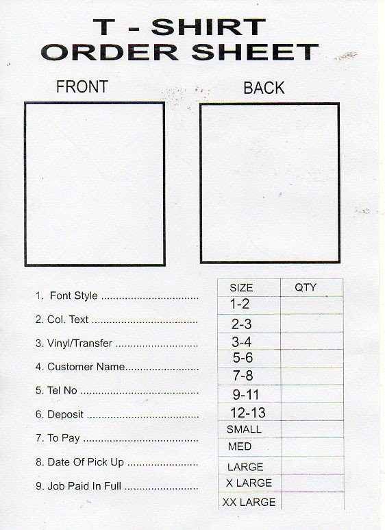 Tee Shirt order form Printable T Shirt order form Template