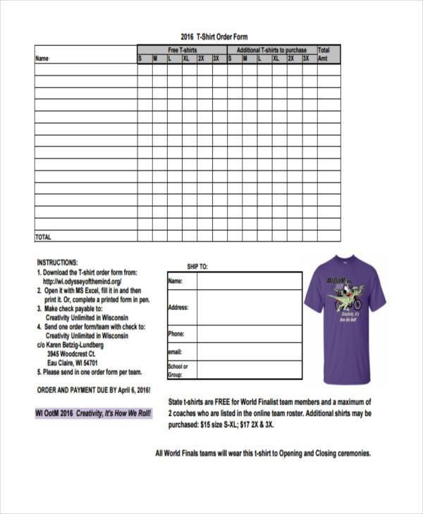 Tee Shirt order form Sample order forms