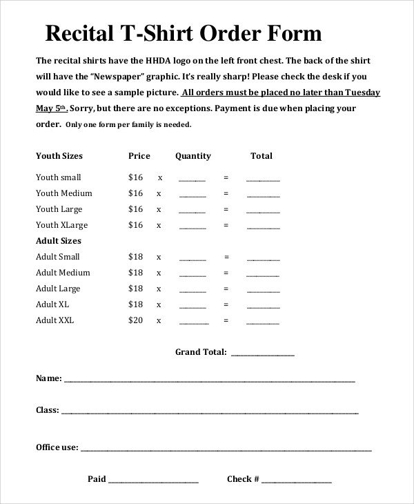 Tee Shirt order form Sample T Shirt order form 11 Examples In Pdf Word
