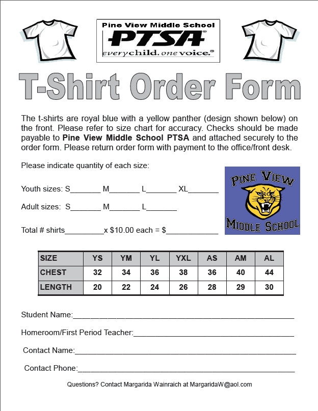 Tee Shirt order form Tshirt order forms Find Word Templates