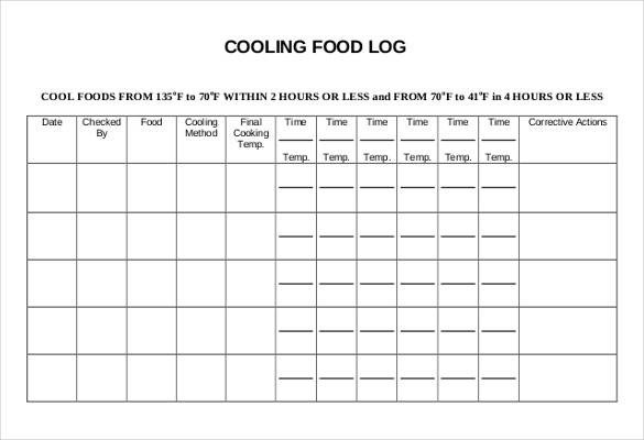 Temperature Log Template Excel 30 Food Log Templates Doc Pdf Excel
