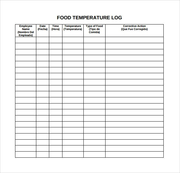 Temperature Log Template Excel Food Log Template 16 Download Free Documents In Pdf