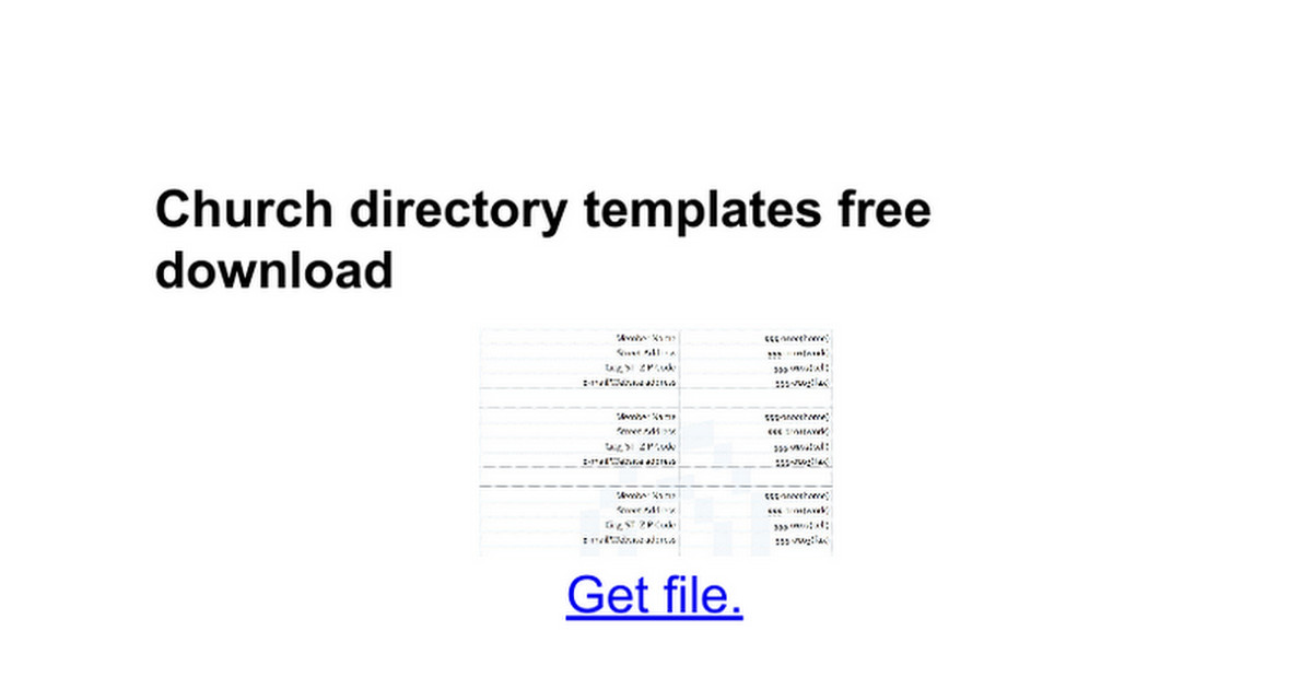 Template for Church Directory Church Directory Templates Free Google Docs