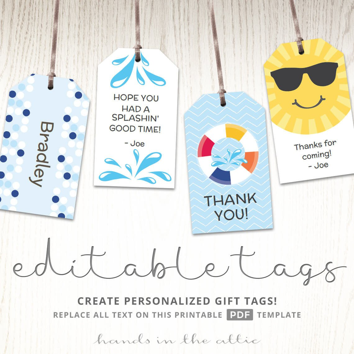 Template for Gift Tags Editable T Tags T Tag Template Favor Tags Pool Party