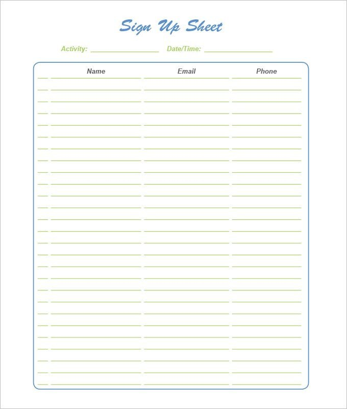 Template for Sign Up Sheet 21 Sign Up Sheets Free Word Excel & Pdf Documents