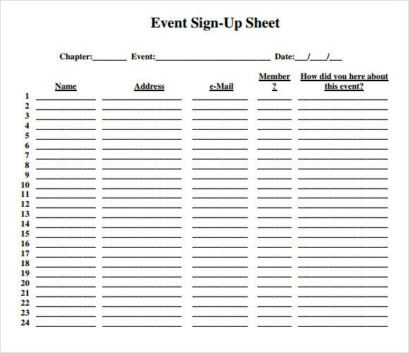 Template for Sign Up Sheet Sample Sign Up Sheet 13 Example format