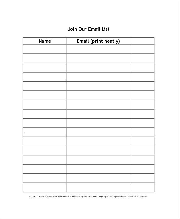 Template for Sign Up Sheet Sign Up Sheet 16 Free Pdf Word Documents Download