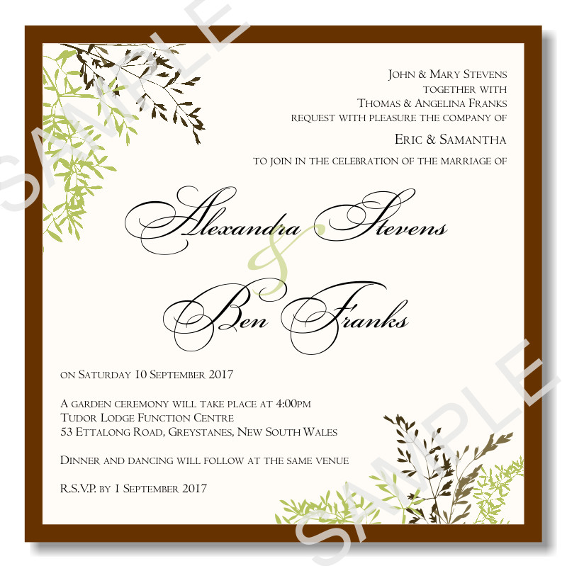 Template for Wedding Invitations Bud Wedding Invitations Template Wedding Autumn Leaves