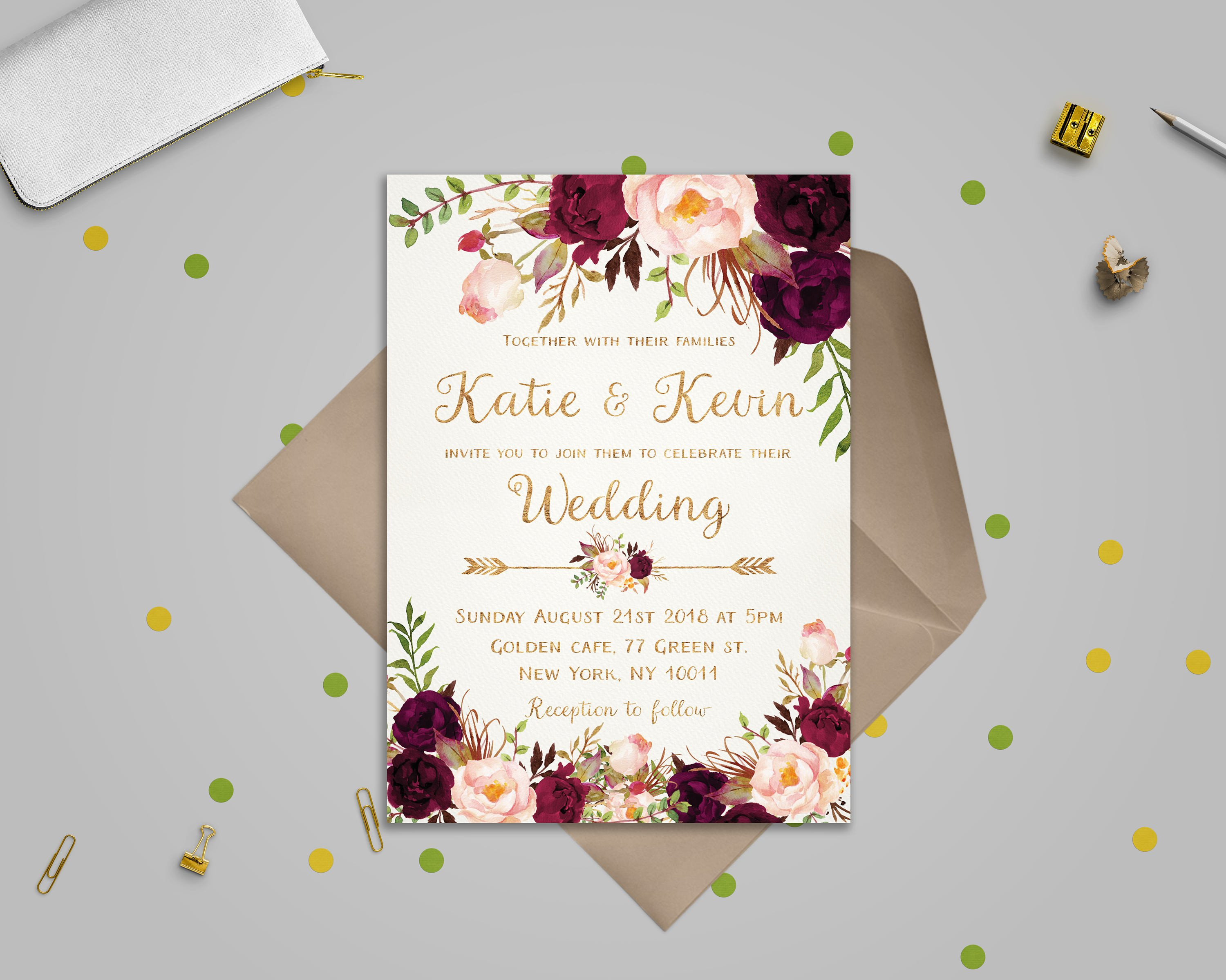 Template for Wedding Invitations Floral Wedding Invitation Template Wedding Invitation