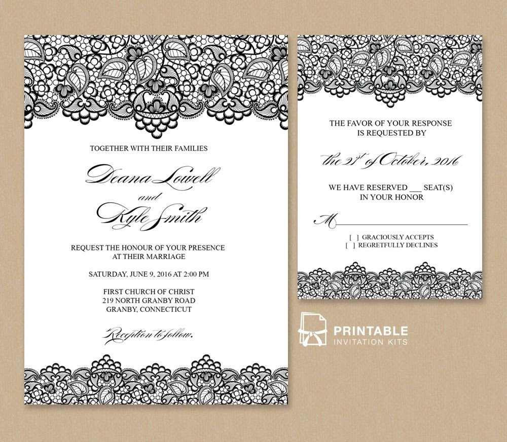 Template for Wedding Invitations Free Pdf Wedding Invitation Template Black Lace Vintage
