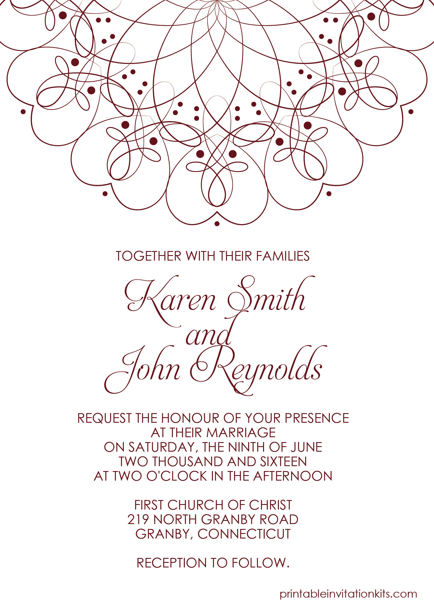 Template for Wedding Invitations Spiral Border Invitation Free Pdf Template for Weddings