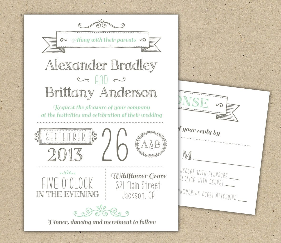 Template for Wedding Invitations Wedding Invitation 1041 Sample Modern Invitation Template